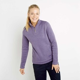 Margot 1/4 Zip Soft Knit Top Lavender Grey