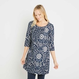 Addison Printed Cord Dress Dark Navy