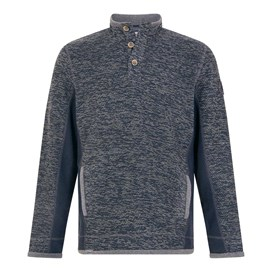 Makepeace Button Neck Active Macaroni Sweatshirt Navy