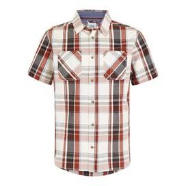 Rewind Cotton Short Sleeve Check Shirt Burnt Henna