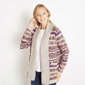 Garcia Fair Isle Knitted Longer Length Cardigan Porridge