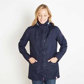 Avesta Print Lined Fully Waterproof Hooded Jacket Dark Navy