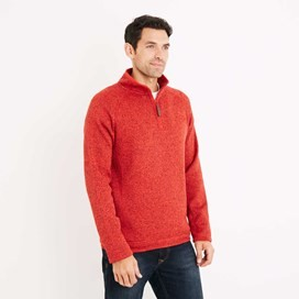 Bare 1/4 Zip Soft Knit Fleece Top Tango Red