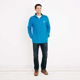 Helm 1/4 Zip Siera Knit Sweatshirt Blue Jay
