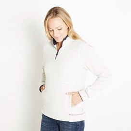 Lily 1/4 Zip Popcorn Fleece Light Cream