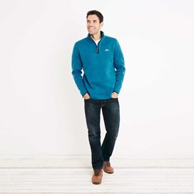 Talas Plain 1/4 Zip Soft Knit Fleece Top Blue Jay