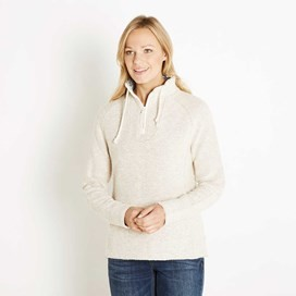 Constantine Print Trim 1/4 Zip Classic Macaroni Sweatshirt Light Cream