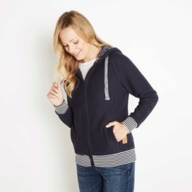 Canan Striped Rib Full Zip Classic Macaroni Hoodie Ink