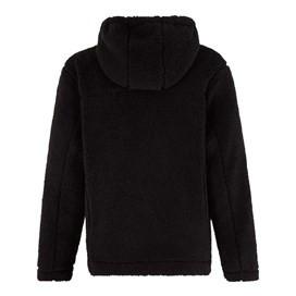 Salem Button Neck Toasty Fur Fabric Hoodie Black