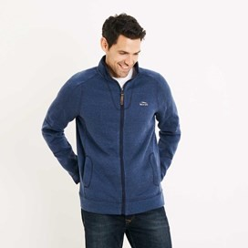 Ashed Full Zip Soft Knit Top Ensign Blue