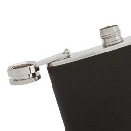 Teton Leather Covered Hipflask Black