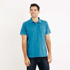 Morrison Garment Dyed Polo Shirt Blue Jay