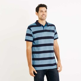 Torres Striped Pique Polo Shirt Blue Jay