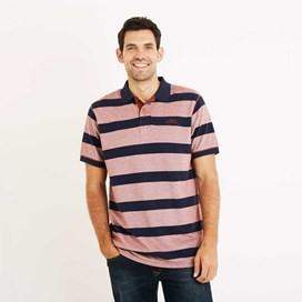 Torres Striped Pique Polo Shirt Burnt Henna