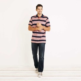 Torres Striped Pique Polo Shirt Burnt Henna
