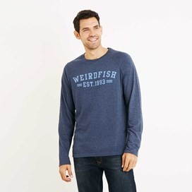 Afflek Long Sleeve Graphic Print T-Shirt Moonlight Blue Marl