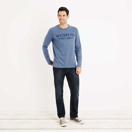 Afflek Long Sleeve Graphic Print T-Shirt Washed Blue Marl