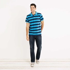 Volta Bold Stripe Polo Shirt Blue Jay