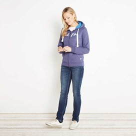 Polly Full Zip Applique Hoodie Dark Violet