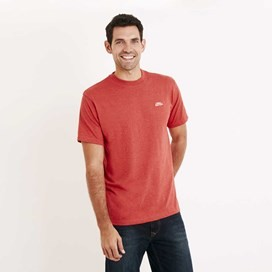 Bones Embroidered Logo Classic Plain T-Shirt Dark Red Marl