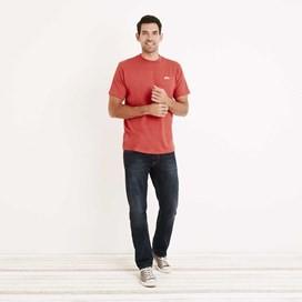 Bones Embroidered Logo Classic Plain T-Shirt Dark Red Marl