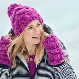 Aysha Cable Knit Bobble Hat Sloeberry