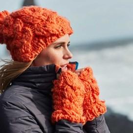 Aysha Cable Knit Bobble Hat Clementine