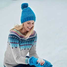 Zerrin Fancy Yarn Knitted Bobble Hat Blue Jay
