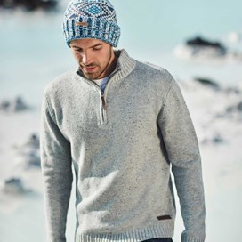 Brayden 1/4 Zip Knitted Jumper Grey Marl