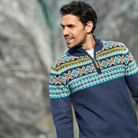 Kenmore 1/4 Zip Fair Isle Knitted Jumper Navy
