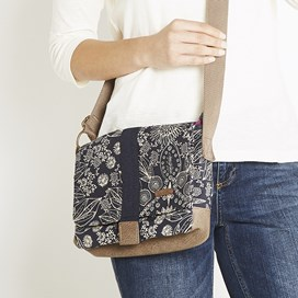 Janna Printed Waxed Cross Body Bag Dark Navy