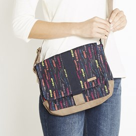 Janna Printed Waxed Cross Body Bag Navy