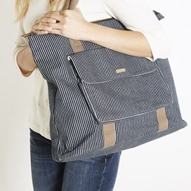 Tali Pinstripe Shopper Bag Dark Navy