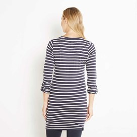 Dorris Stripe & Print Longer Length T-Shirt Dark Navy