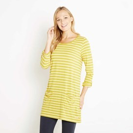 Dorris Stripe & Print Longer Length T-Shirt Sweetcorn