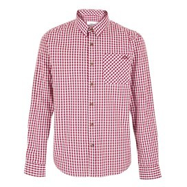 Lougheed Long Sleeve Mini Check Shirt Dark Red