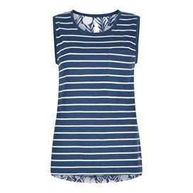 Georgie Stripe Vest Top Dark Denim