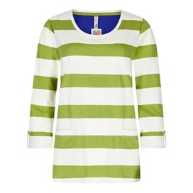 Ajay Cotton Slub Stripe Long Sleeve T-Shirt Lime