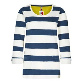 Ajay Cotton Slub Stripe Long Sleeve T-Shirt Dark Denim