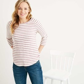 Roxie Striped Crew Neck Top Boysenberry