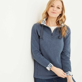 Bina 1/4 Zip Print Lined Sweatshirt Dark Denim