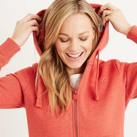 Taloga Print Lined Full Zip Hoodie Tango Red
