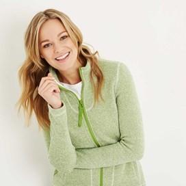 Galata Soft Knit Full Zip Fleece Top Lime