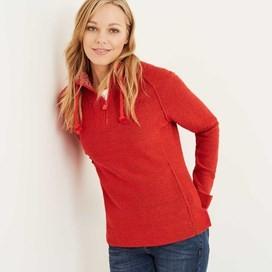 Constantine Print Trim 1/4 Zip Classic Macaroni Sweatshirt Tango Red