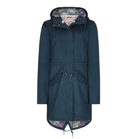 Amorite Waterproof Print Lined Parka Jacket Dusty Teal