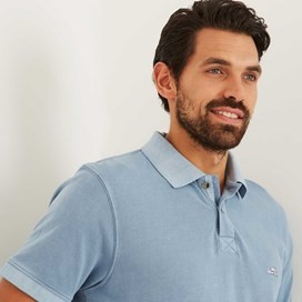 Edwin Garment Dyed Polo Shirt Pale Denim