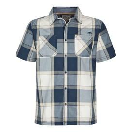 Trevelyan Micro Sanded Short Sleeve Check Shirt Maritime Blue
