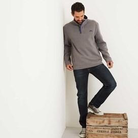 Boyer Button Neck Sweatshirt Pewter