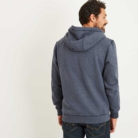 Moloney Applique and Graphic Print Zip Through Hoodie Maritime Blue