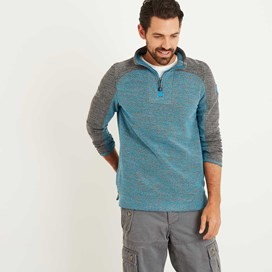 Jepson 1/4 Zip Marled Active Macaroni Sweatshirt Bright Blue